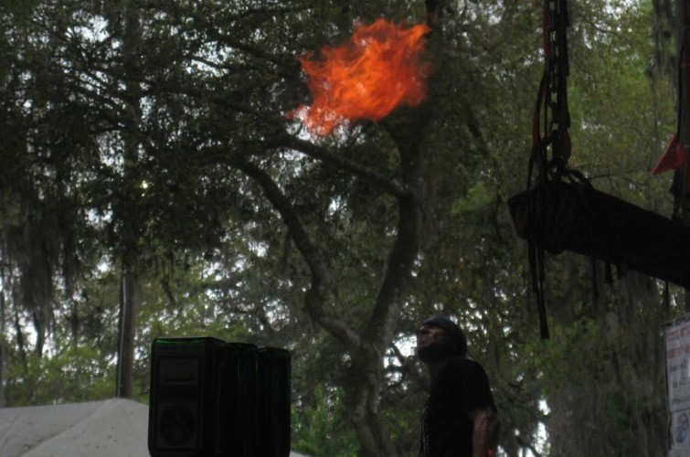 Outdoor Trapeze bar 05 fire breather